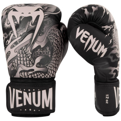 Перчатки Venum Dragons Flight Boxing Gloves Black/Sand (01706) фото 1