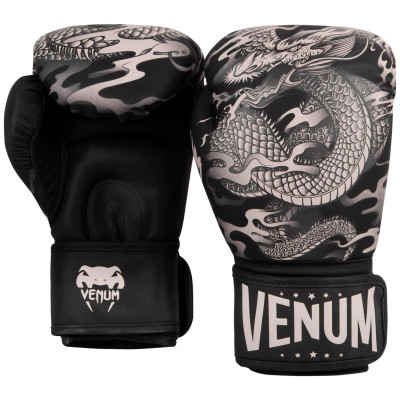 Перчатки Venum Dragons Flight Boxing Gloves Black/Sand (01706) фото 2