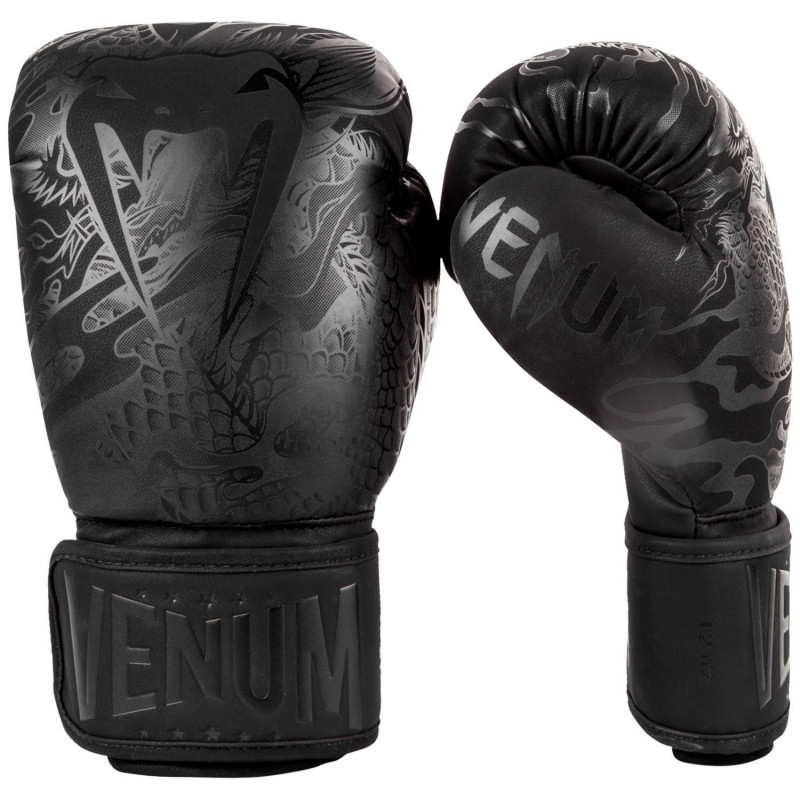 Перчатки Venum Dragons Flight Boxing Gloves Black/Black (01705) фото 1