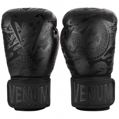 Перчатки Venum Dragons Flight Boxing Gloves Black/Black (01705) фото 3