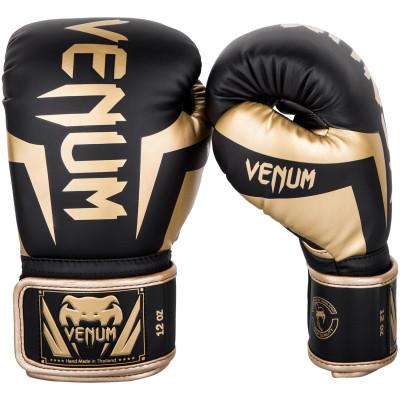 Боксерские перчатки Venum Elite Черные/Золото (01846)
