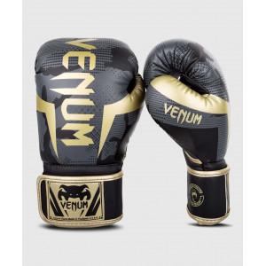 Перчатки Боксерські рукавиці Venum Elite Темний камуфляж/Золото