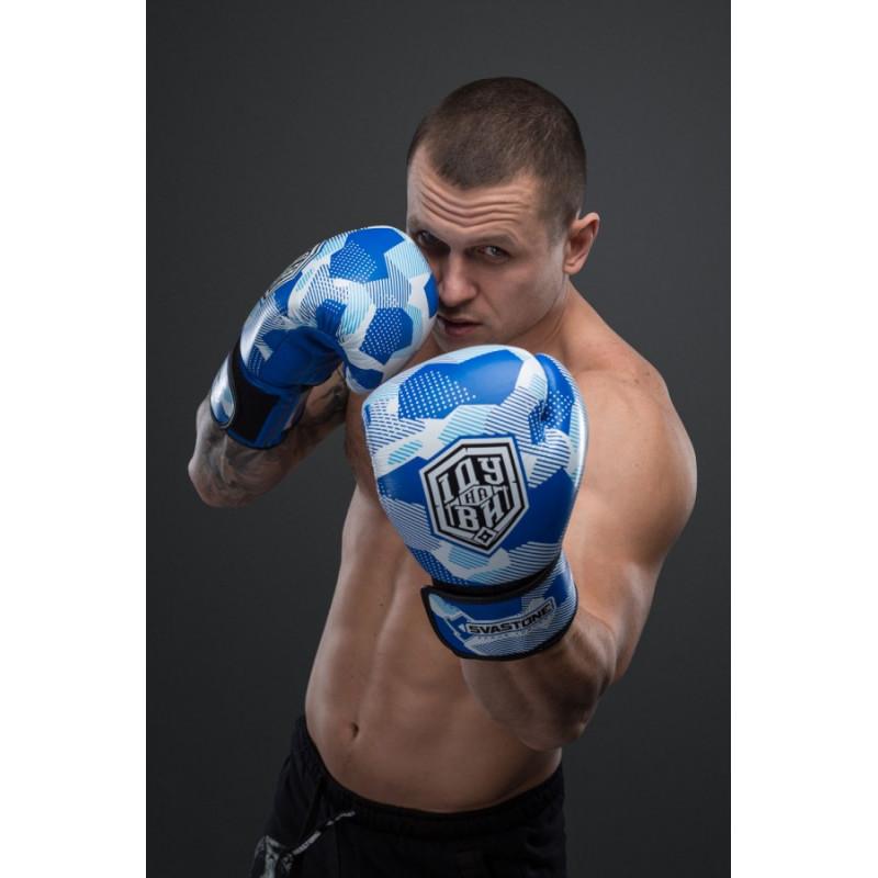 Боксерські рукавиціSVA STONE Іду на ВИ Сині (01629) фото 5