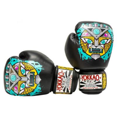 Боксёрские перчатки YOKKAO Apex Leopard Muay Thai  black (01641) фото 3