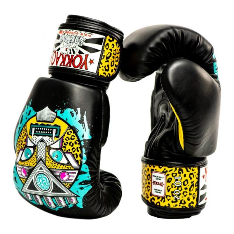 Боксёрские перчатки YOKKAO Apex Leopard Muay Thai  black (01641) фото 5