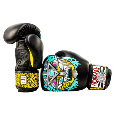 Боксёрские перчатки YOKKAO Apex Leopard Muay Thai  black (01641) фото 6