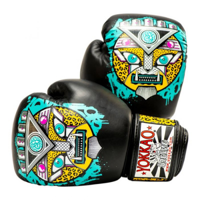 Боксёрские перчатки YOKKAO Apex Leopard Muay Thai  black (01641) фото 1