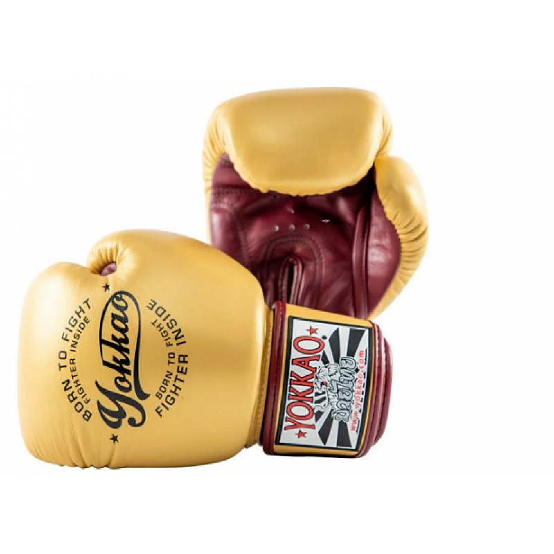 Боксёрские перчатки YOKKAO Vintage gloves gold (01766) фото 2