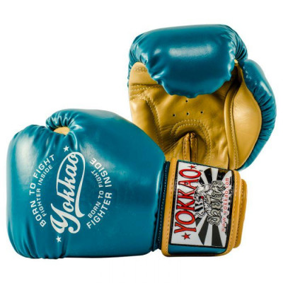 Боксёрские перчатки YOKKAO Vintage gloves blue (01764) фото 2