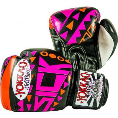 Боксёрские перчатки YOKKAO Sick Muay Thai gloves orange/pink (01640) фото 2