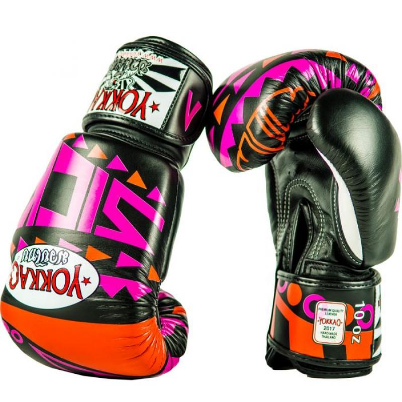 Боксёрские перчатки YOKKAO Sick Muay Thai gloves orange/pink (01640) фото 3