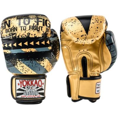 Боксерські рукавиці YOKKAO Hustle Muay Thai gold/black (01645) фото 2