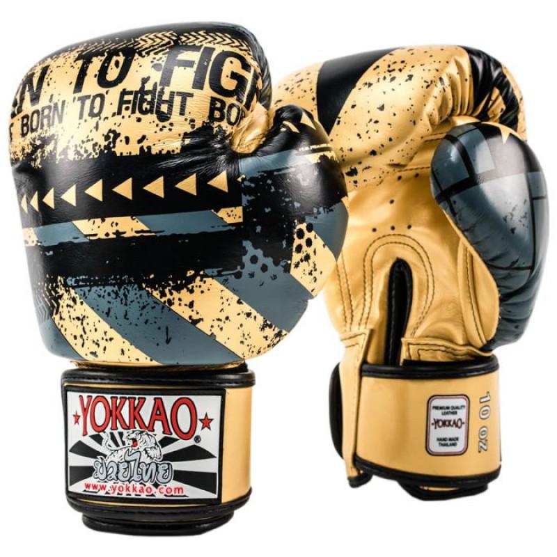Боксерські рукавиці YOKKAO Hustle Muay Thai gold/black (01645) фото 1