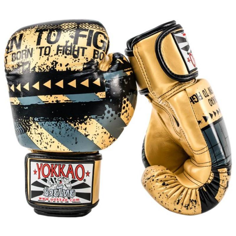 Боксерські рукавиці YOKKAO Hustle Muay Thai gold/black (01645) фото 3