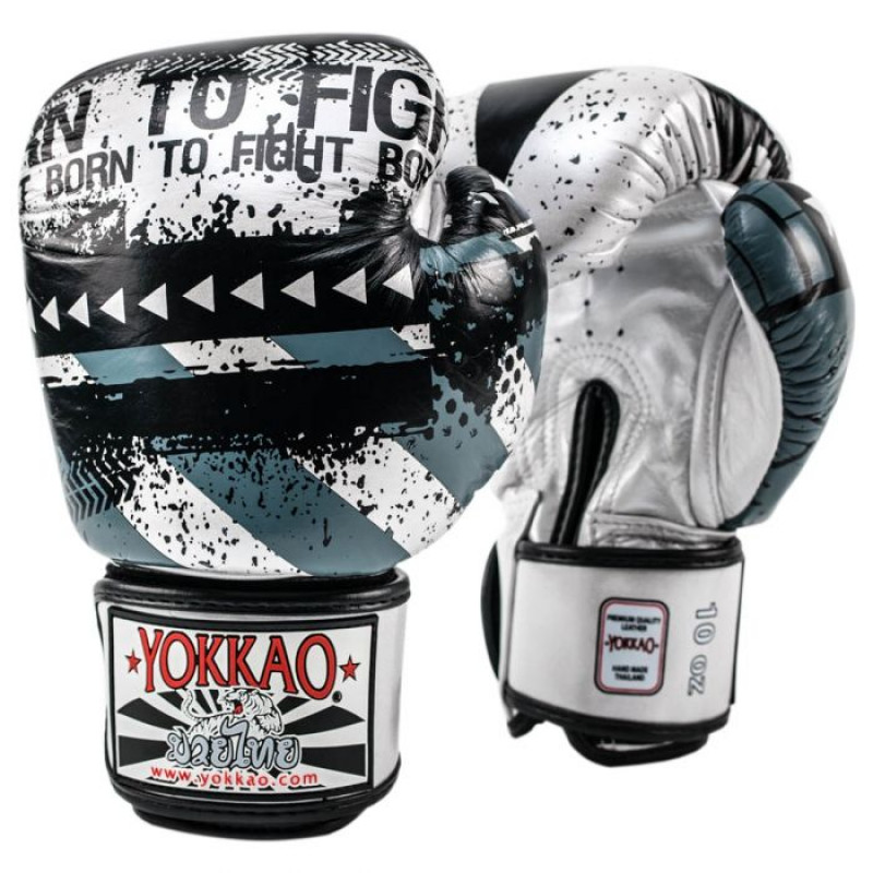 Боксёрские перчатки YOKKAO Hustle Muay Thai silver/black (01646) фото 1