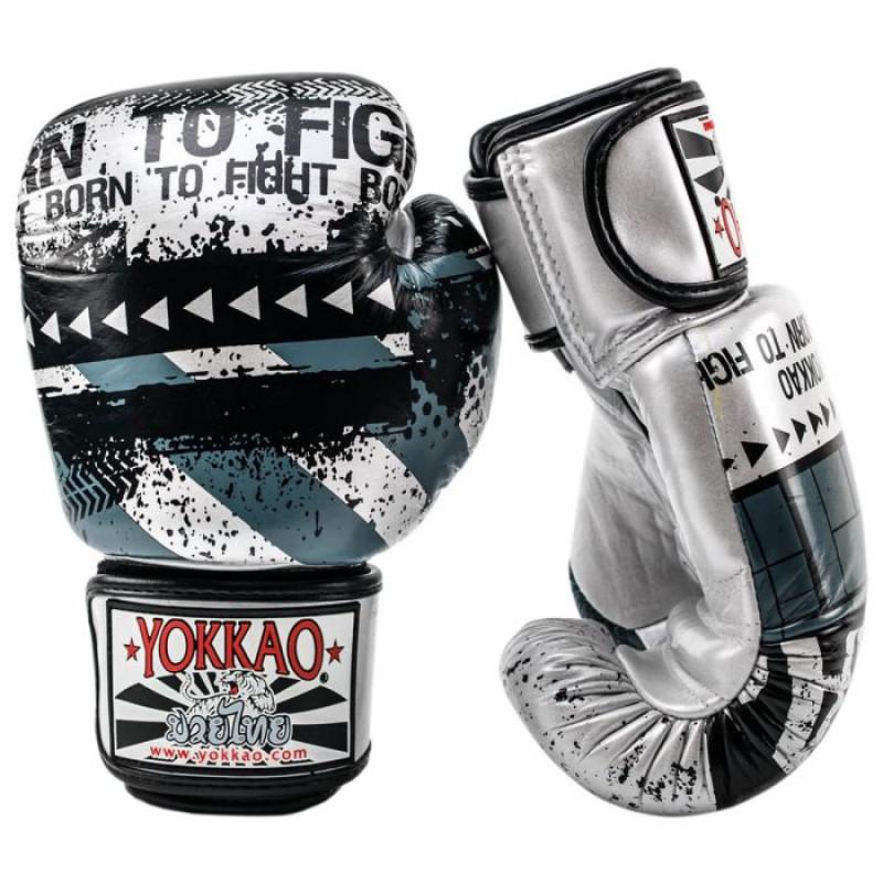 Боксёрские перчатки YOKKAO Hustle Muay Thai silver/black (01646) фото 3