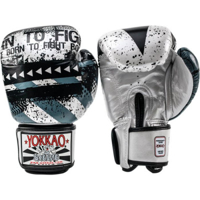 Боксёрские перчатки YOKKAO Hustle Muay Thai silver/black (01646) фото 2