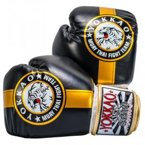 Перчатки YOKKAO FIGHT TEAM Бокс Чорне золото