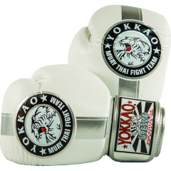 Перчатки YOKKAO FIGHT TEAM WHITE/SILVER Boxing Gloves
