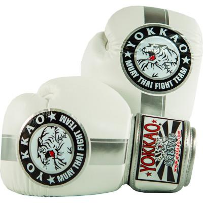 Перчатки YOKKAO FIGHT TEAM WHITE/SILVER Boxing Gloves (01518) фото 1