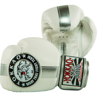 Перчатки YOKKAO FIGHT TEAM WHITE/SILVER Boxing Gloves (01518) фото 2