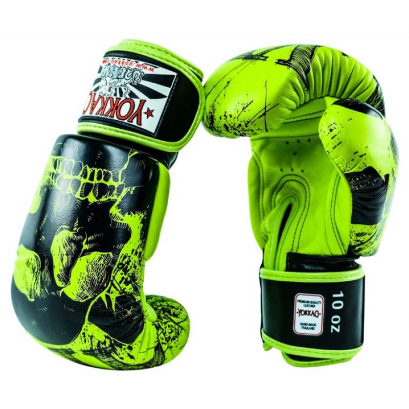 Боксёрские перчатки YOKKAO Skullz lime punch (01654) фото 3