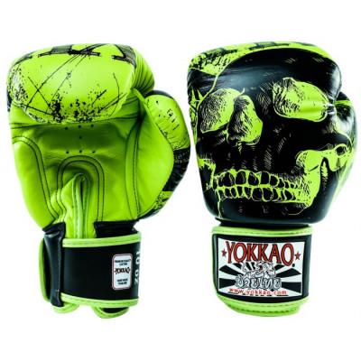 Боксёрские перчатки YOKKAO Skullz lime punch (01654) фото 2