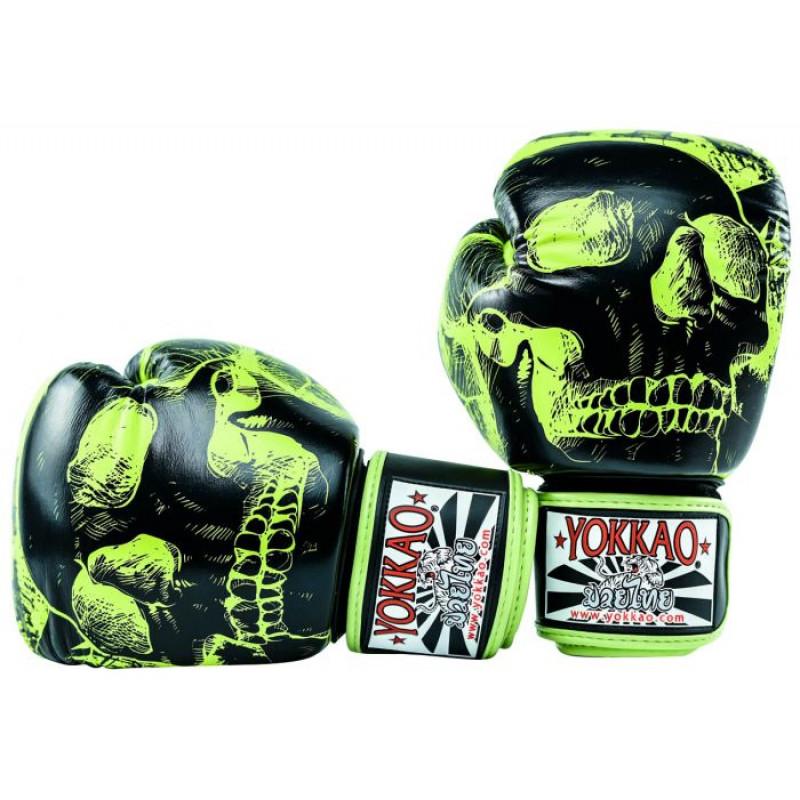 Боксёрские перчатки YOKKAO Skullz lime punch (01654) фото 7