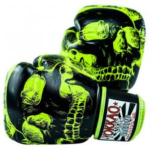 Боксёрские перчатки YOKKAO Skullz lime punch