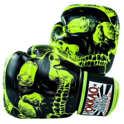 Боксёрские перчатки YOKKAO Skullz lime punch (01654)