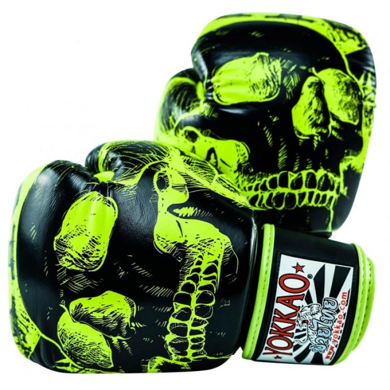 Боксёрские перчатки YOKKAO Skullz lime punch (01654) фото 1