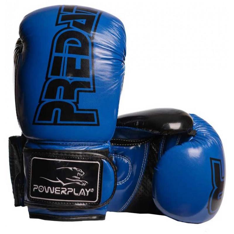 Боксёрсские перчатки PowerPlay Blue 3017 синие (01798) фото 1