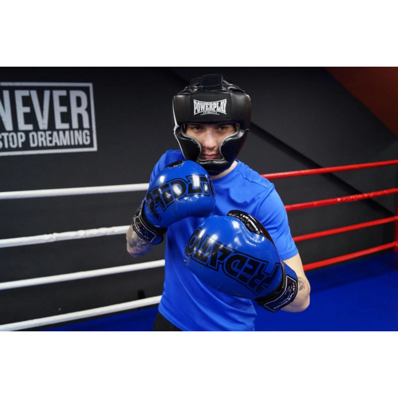 Боксёрсские перчатки PowerPlay Blue 3017 синие (01798) фото 8