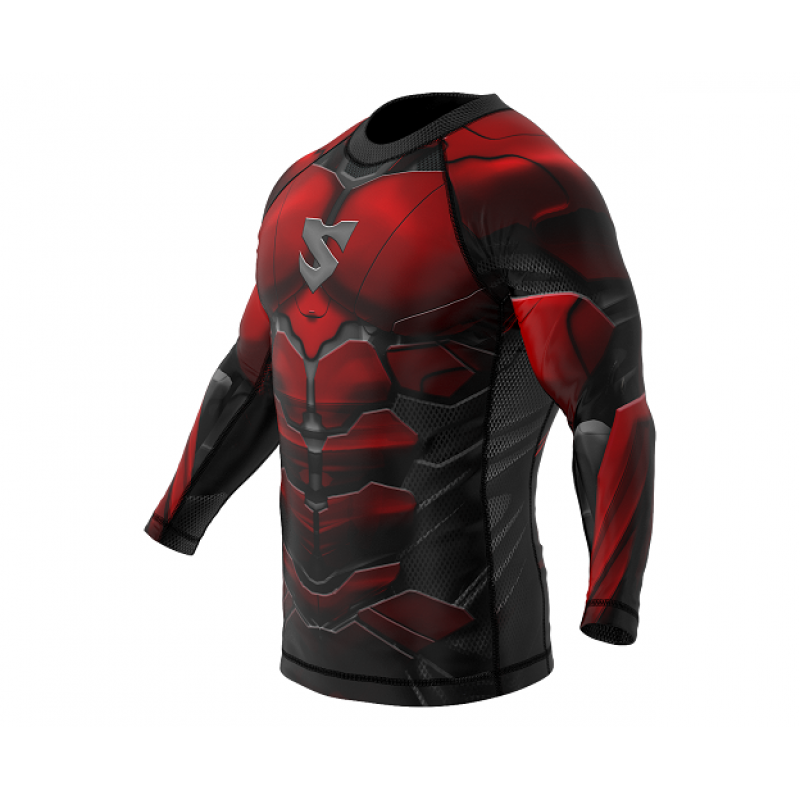 Рашгард SMMASH RASHGUARD LONG RED ARMOUR ММА (01413) фото 5