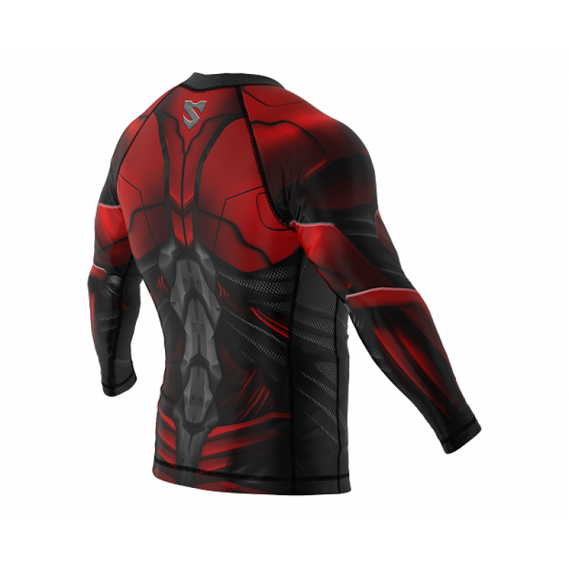 Рашгард SMMASH RASHGUARD LONG RED ARMOUR ММА (01413) фото 6