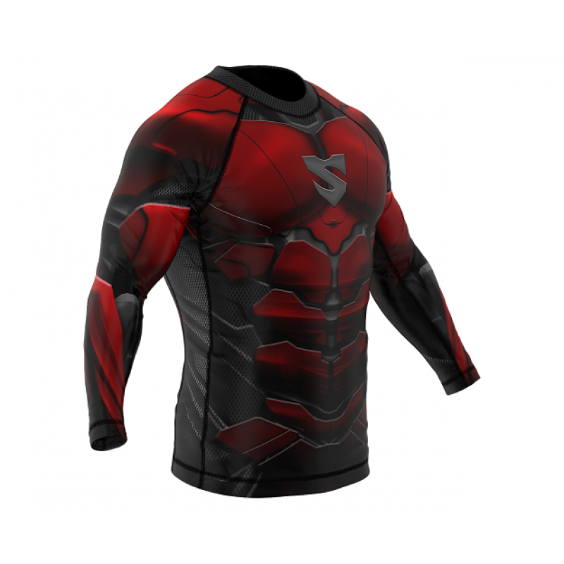Рашгард SMMASH RASHGUARD LONG RED ARMOUR ММА (01413) фото 3