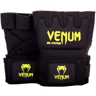 Быстрые гелевые бинты Venum Kontact Gel Glove Wraps Черные/Жёлтый (01849)