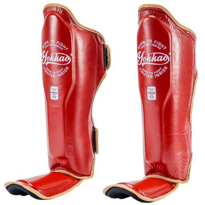 Защита YOKKAO голеностопа Vintage Shin guards red (01773) фото 2