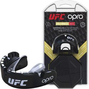 Капа OPRO Gold Braces UFC Hologram Black M/S