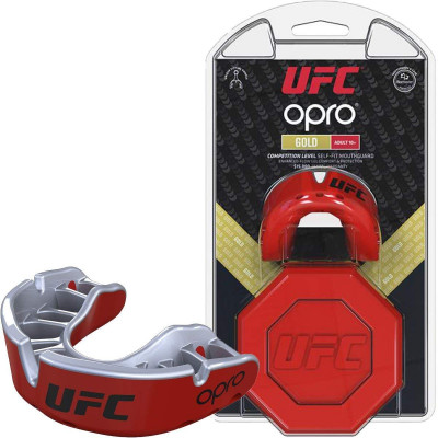 Капа OPRO Gold UFC Hologram Red Metal/Silver (01613)
