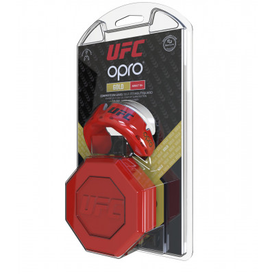 Капа OPRO Gold UFC Hologram Red Metal/Silver (01613) фото 3