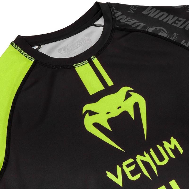 Рашгард Venum Logos Rashguard Short  B/Neo Yellow (01726) фото 6