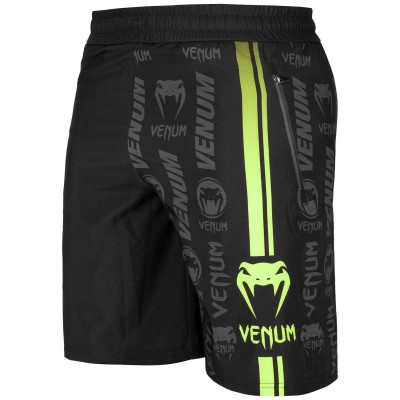 Шорты Venum Logos Training Shorts Black/Neo Yellow (01728) фото 1