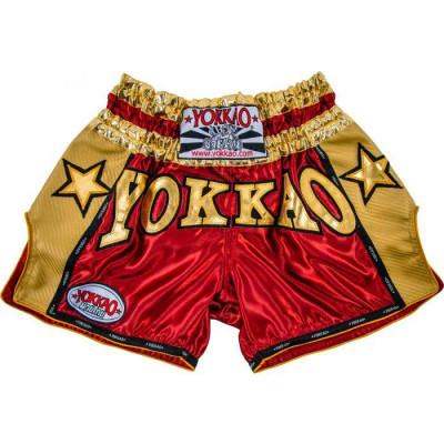 Шорты YOKKAO Vintage Muay Thai shorts red (01775)