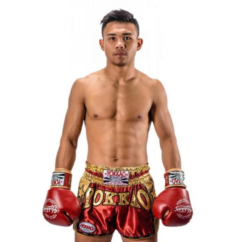 Шорты YOKKAO Vintage Muay Thai shorts red (01775) фото 4
