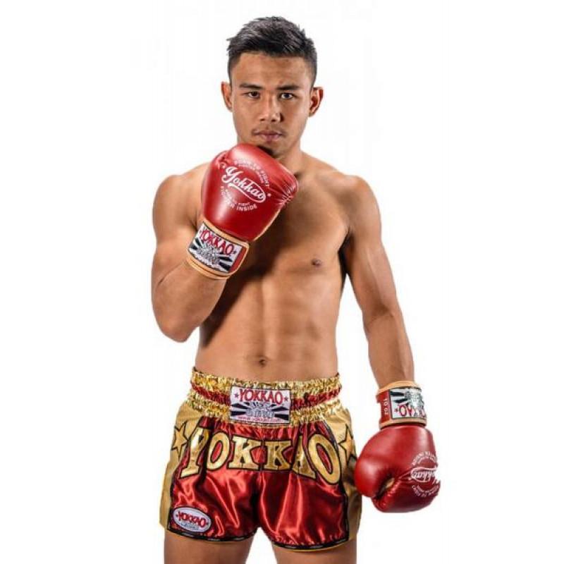 Шорты YOKKAO Vintage Muay Thai shorts red (01775) фото 2